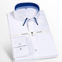 Men S Double Collar Inner Contrast Dress Shirts Comfortable 100 Cotton Long Sleeve Smart Casual Regular