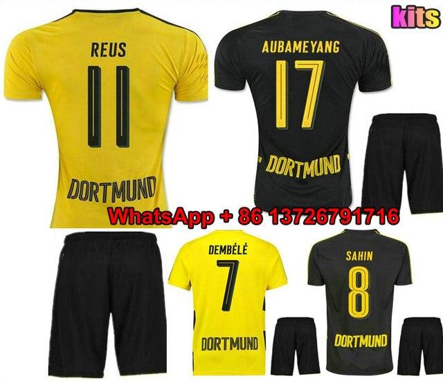 Adult 17 18 Dortmunds home yellow soccer jersey Kits 2017 2018 AUBAMEYANG  GOTZE DEMBELE PULISIC REUS MOR away football sh 52e79a251
