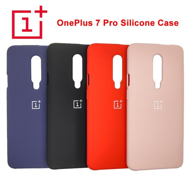 מקורי Oneplus 7 פרו מקרה משיי חלק רך-מגע נוזל סיליקון מקרה מלא מגן מקרה עבור Oneplus 7 פרו טלפון כיסוי אחורי