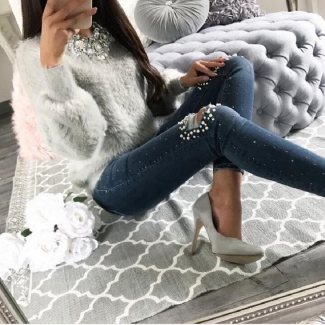 2018 New Warm Winter Velvet Casual Long Sleeve Gray Sweater Female Plush Pullovers Sweaters Autumn Fashion Women Clothes 1