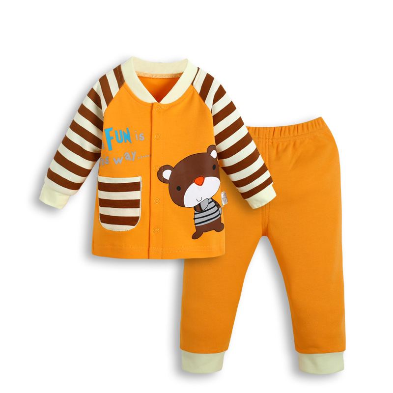 2pcs Baby Sets Cotton Autumn Baby Clothing Set Girl Outfit Bear Striped Newborn Boys Clothes Set Bebes Toddler Long Shirt Pants bear leader baby boys girls sets 2017 autumn baby clothing sets house applique sweatshirt striped pants 2pcs for baby clothes