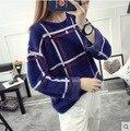 Kesebi Outono Inverno 2016 Mulheres Novo O-pescoço Blusas de Manga Longa Listrada Solto Feminino Casual Coreano Curto Pullovers De Malha
