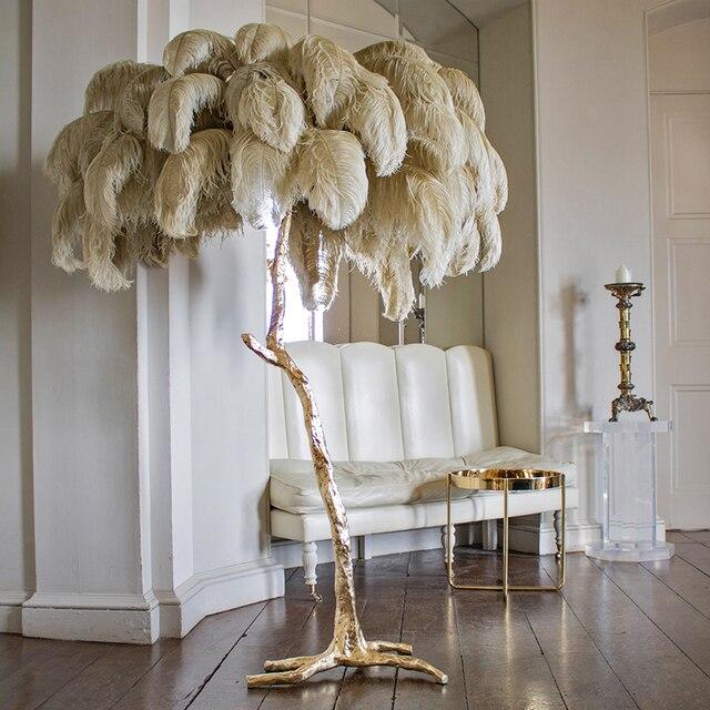 Feder Boden Lampen Licht Stehend Lampe Hause Beleuchtung für Wohnzimmer  Schlafzimmer Nordic Luxus Straußen