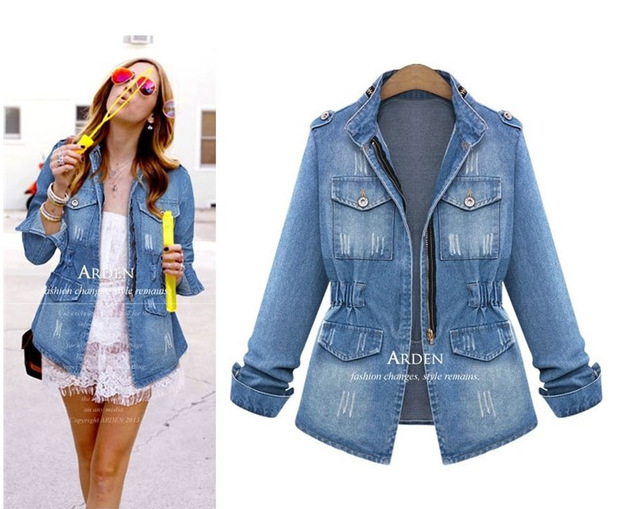 Online Shop Vintage style Women Denim Jacket Coat Jean Blue Cowboy ...