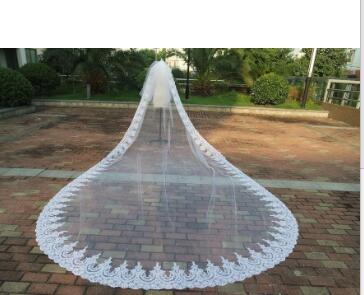 Wedding Accessories 2t Ivory White Wedding Veil Cathedral Bridal Veils Stock+Comb Long Lace Veil Custom 2m 3m 3.5m  5m 6m 7m 8m