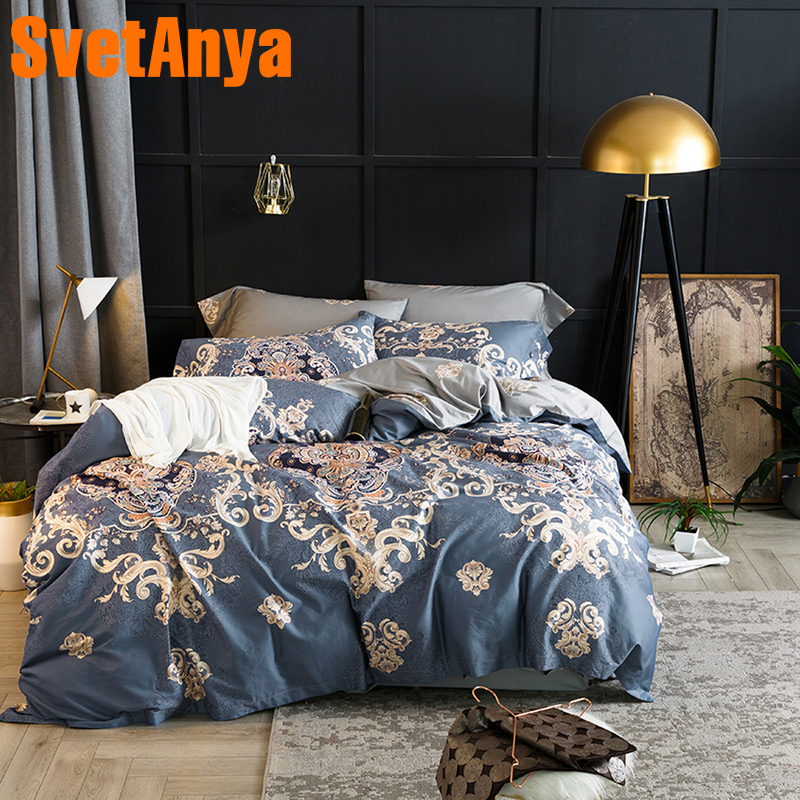 Svetanya printed  Bedding Sets Egyptian Cotton Bedlinen Sheet Pillowcases Quilt cover set Twin Queen King Double Size-in Bedding Sets from Home & Garden    1