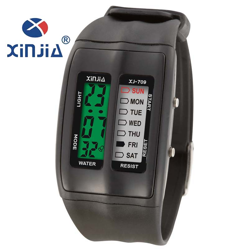 XINJIA LED Cold Light Sports Watches Student Dedicated Waterproof Electronic Watches Dual Red Green And White And Green 709