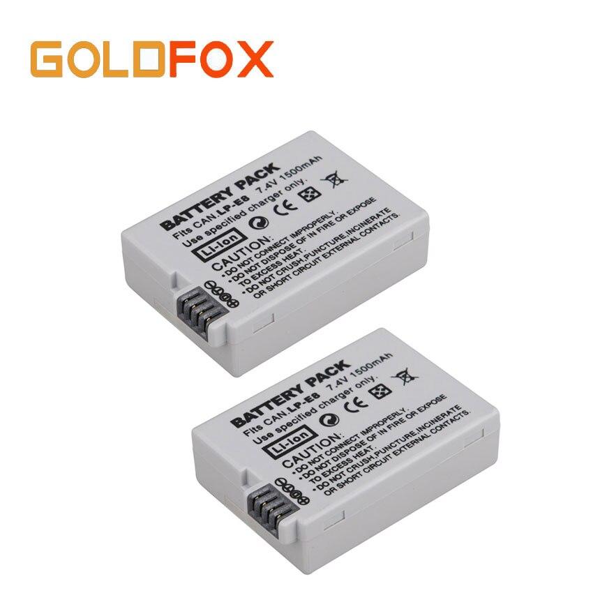 2 pcs 1500 mah 7.4 V LP-E8 LP E8 Rechargeable Appareil Photo Numérique Batterie Pour Canon EOS 600D 650D 550D 700D T4i T5i Rebel T2i LPE8
