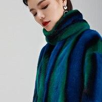Color Mink fur coat women winter jacket fashion Goose down full pelt coat nine quarter long outwear ER88