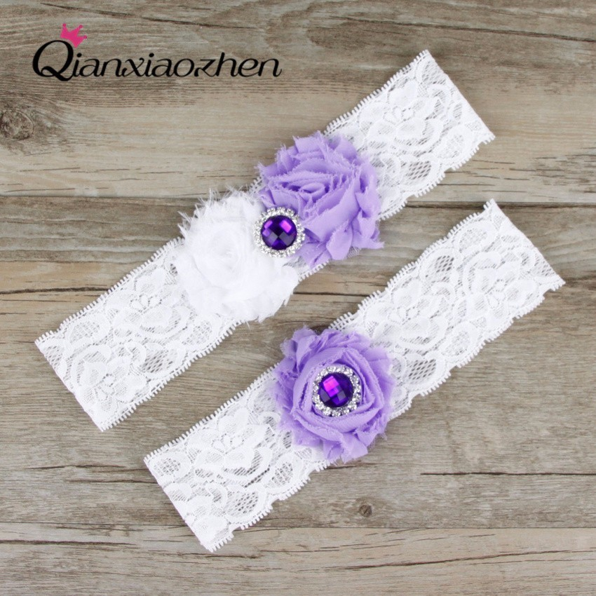 Garters Wedding: Qianxiaozhen 2pcs/set Lilac And White Lace Leg Wedding