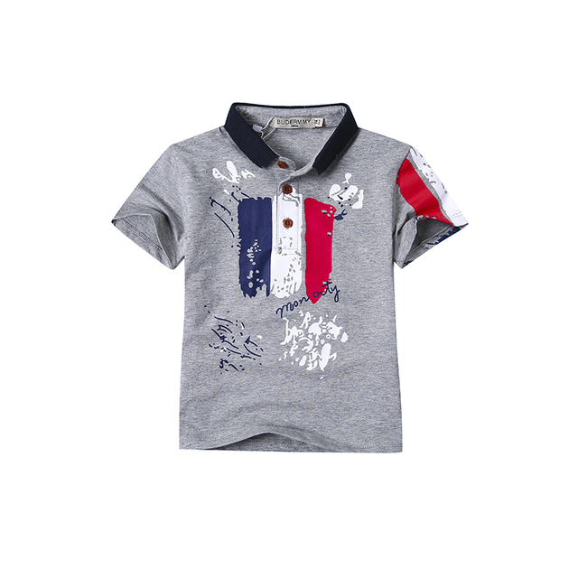 2-12T children's T-shirt for boys 2017 fashion brand summer lapel short-sleeved T-shirts kids baby cotton shirt toddler clothing