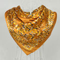 Ladies Gold Silk Scarf Printed 90*90cm Fashion Women Polyester Square Scarves Wraps Printed For Autumn Spring