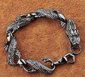 2 шт цена для женщин и мужчин серебряный черный дракон браслет ювелирные изделия браслет украшение тибетское серебряное слово оптовая прод...