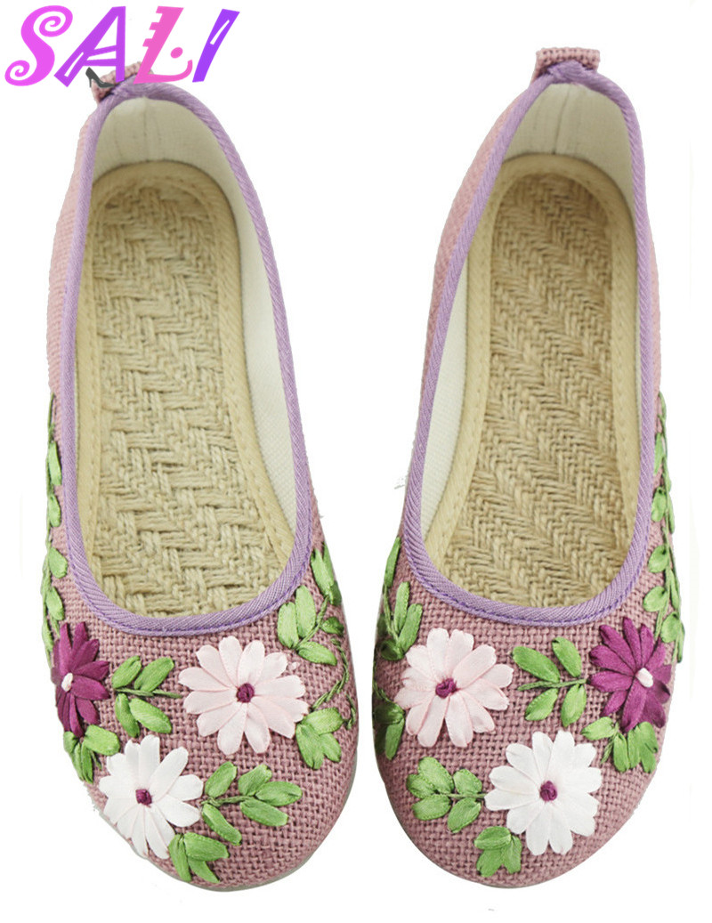 15 colors Chinese style fashion embroidered linen breathable Peas shoes women flat shoes women
