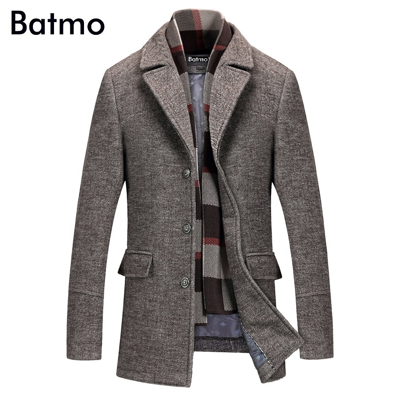 Batmo 2019 New Arrival Winter High Quality Wool Casual Gray Trench Coat Men,men's Winter Warm Coat,winter Jackets Men 823