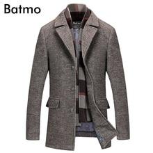Batmo 2019 new arrival winter high quality wool casual gray trench coat men,mens winter warm coat,winter jackets men 823