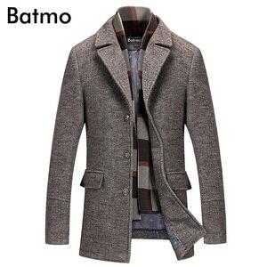 Image 1 - Batmo 2019 חדש הגעה חורף באיכות גבוהה צמר מזדמן אפור תעלת מעיל גברים, גברים של חורף מעיל חם, חורף מעילי גברים 823