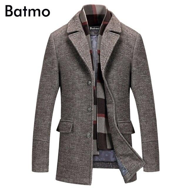 Batmo 2019 חדש הגעה חורף באיכות גבוהה צמר מזדמן אפור תעלת מעיל גברים, גברים של חורף מעיל חם, חורף מעילי גברים 823