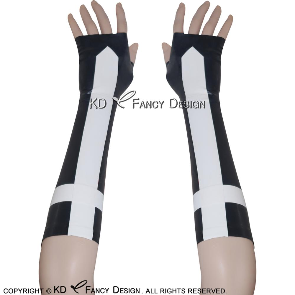 Black With White Cross Sexy Short Latex Gloves Rubber Mittens ST-0016