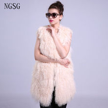 Women's Coat Real Fur Vest Sleeveless Vest Mongolia Sheep Fur Jacket  75 CM Length Plus Size Popular Style Coat  ER4020-10