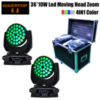 Road Case 2in1 with 2pcs/lot 36x10W 360W Wash Zoom Led Moving Head Lights DMX With EU US AU Plug 110V 240V TIPTOP TP L620A RGBW