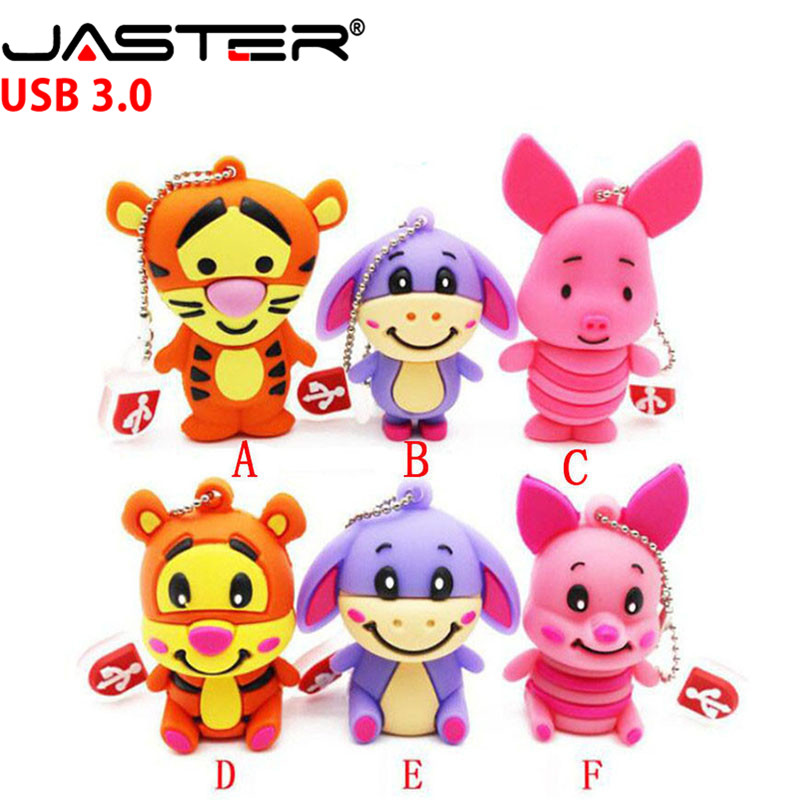 JASTER Cartoon Animal Tigger Pendrive 4GB 8GB 16GB 32GB 64GB USB 3.0 Thumb Memory Stick Pen Drive Cute Pig USB Flash Drive
