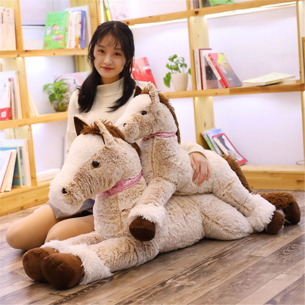 90/140cm Giant Horse Animal Stuffed Cotton Plush Baby Educational Toys Doll Kid Lovey Soft Pillow Cushion Birthday Gift For Kids
