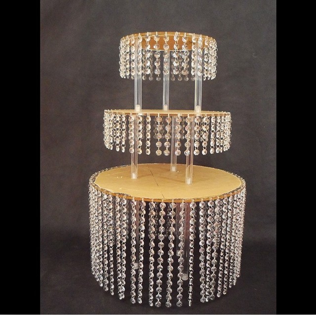 Layer Crystal Acrylic Wedding Cake Tray Stand Wedding Centerpiece - Cupcake chandelier stand crystals