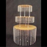 3 layer Crystal Acrylic Wedding Cake Tray Stand Wedding Centerpiece chandelier cake holder Wedding Cake Display cupcake pan