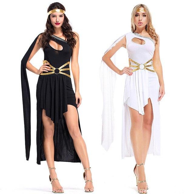 Sexy Roman Greek Goddess Costume White Black Grecian Beauty Costume