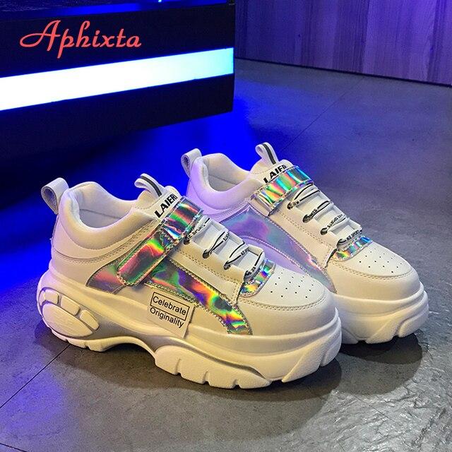 Aphixta Neue Plattform Turnschuhe Ultra-licht Trend Frauen Schuhe Bling Explosionen Dicken sohlen Spitze-up High- mit hohen absätzen Damen Schuhe Frau