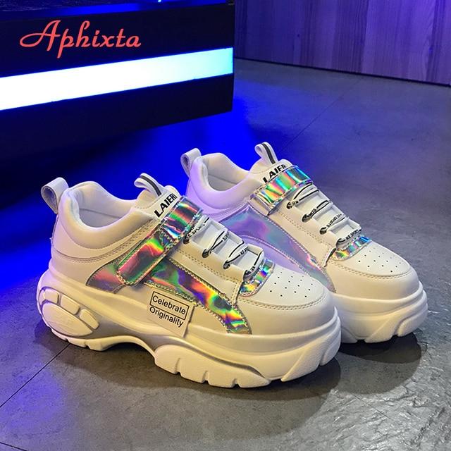 Aphixta Yeni Platformu Sneakers Ultra-ışık Eğilim Kadın Ayakkabı Bling Patlamalar Kalın soled Dantel-up Yüksek- topuklu Bayan Ayakkabı Kadın