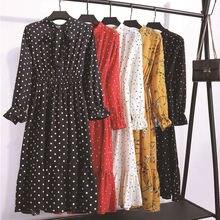 Женское шифоновое платье рубашка в горошек повседневное красное