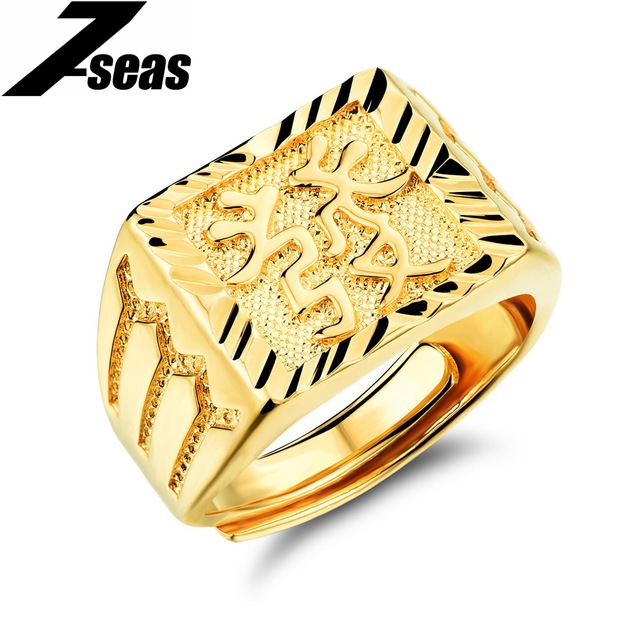 7SEAS Vintage Jewelry Gold Color Men s Rings Exquisite Engraved