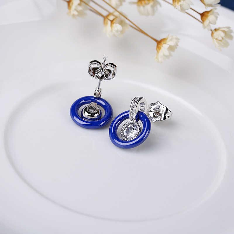 Elegancki niebieski ceramiczne biżuteria ślubna dla nowożeńców zestawy dla kobiet geometryczne ceramiczne bransoletki i Bangles Hollow koło kryształowe kolczyki zestaw
