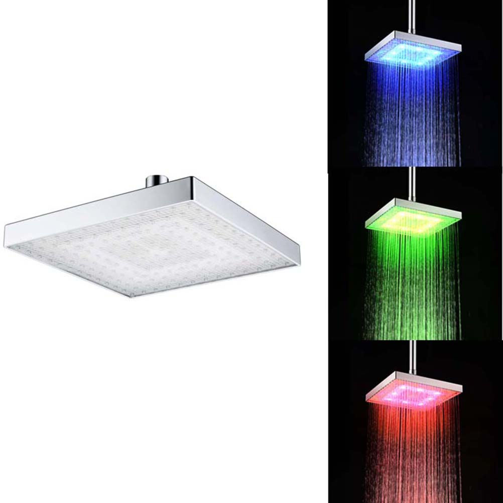 Bathroom 8-inch Color Changing Temperature Control LED Rainfall Shower Head Over-head Shower Spray Waterfall Full Body Coverage beautiful body temperature color changing finger ring random color