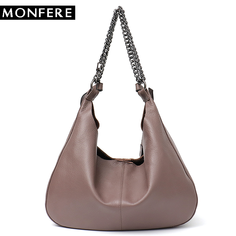 MONFERE Luxury Brand High Quality Women Leather Bag Shoulder Bags Genuine Leather Hobo Messenger Bag Chain Real Leather Handbag стоимость