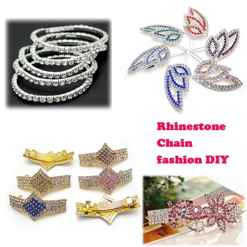 1Yard 10Yards/roll SS6-SS16 Glitter Crystal Rhinestone Chain Sew-On Glue-On For Clothes  DIY Garment Accessories trim Cup Chain 3