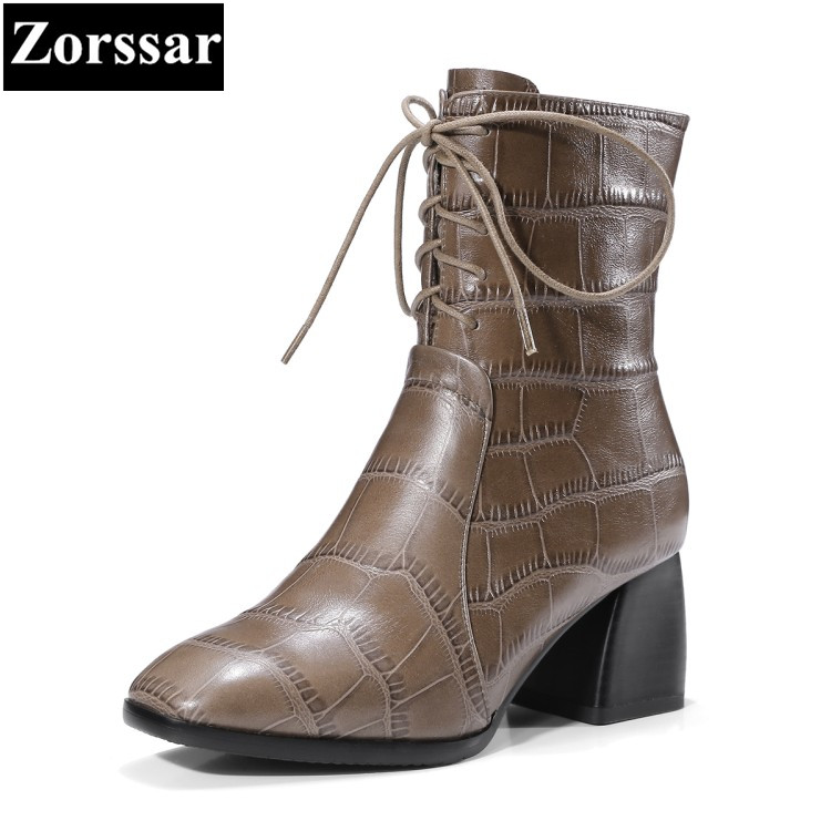 Фотография {Zorssar} 2018 Fashion serpentine Cow Leather Women Short Boots lace up High heels ankle Motorcycle boots big size women shoes