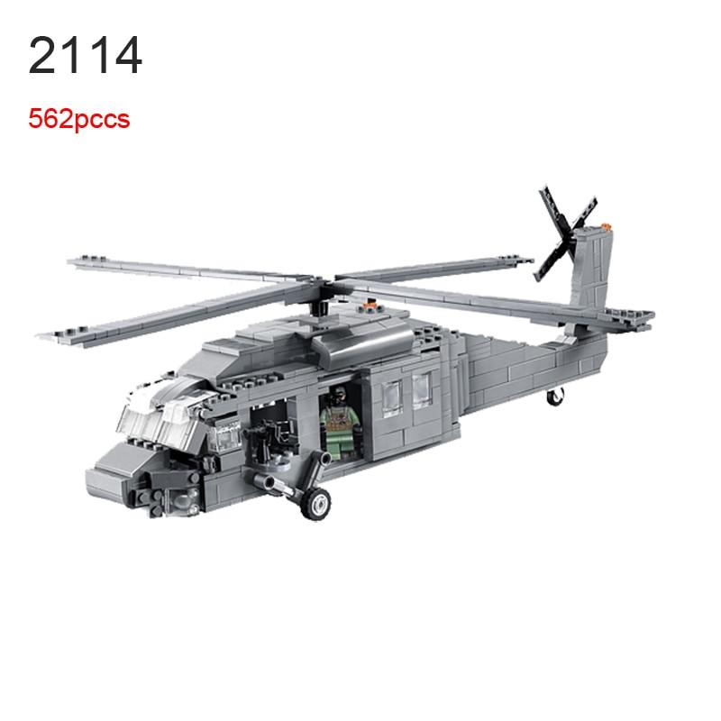 562Pcs 2114 BuildingBlocks Military UH-60 BLACK HAWK Plane Airplane Helicopter Educational DIY Bricks Blocks Children Toys