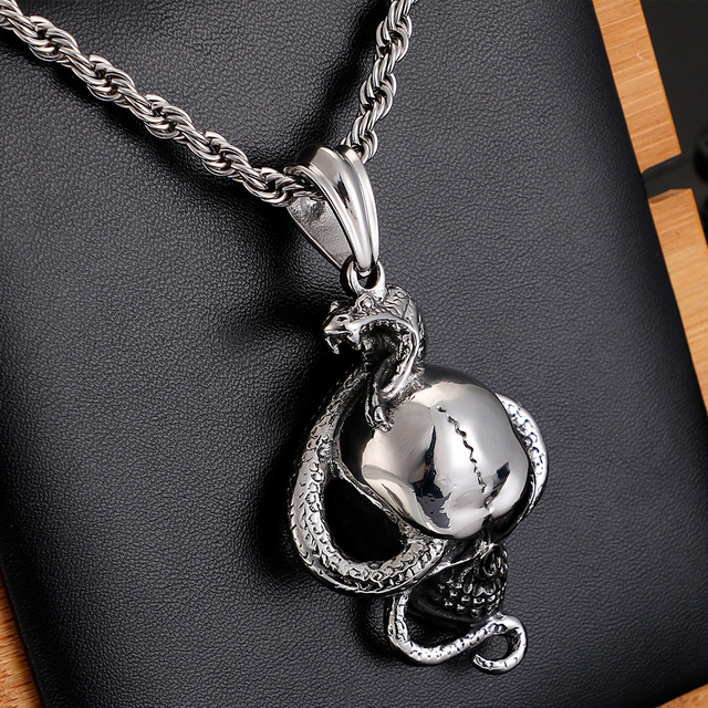 STAINLESS STEEL SKULL & SNAKE NECKLACE
