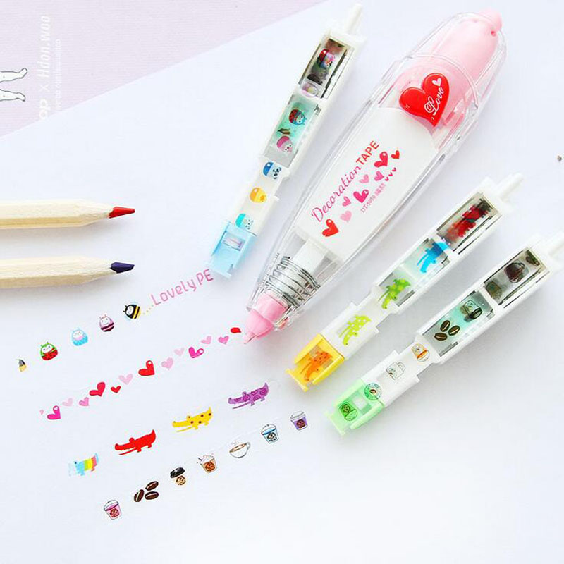 4pcs/set 4 Meters Long Cartoon Animal Masking Correction Tape School Supply Student Stationery Kids Notebook Decor DIY Tape