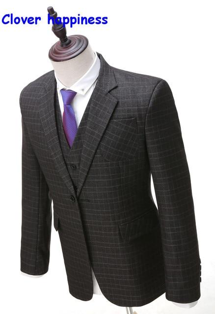 Foto Real de Lana Terno Chaqueta Delgada para Hombre Slim fit Masculino Trajes de Boda 3 Unidades (jacket + pants + chaleco)