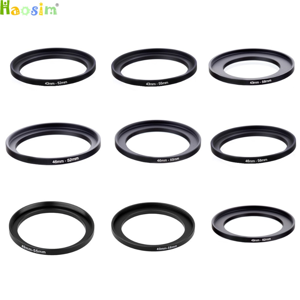 40.5-62 43-52  43-55  43-58  46-52  46-55  46-58  49-55  49-58 49-62mm Metal Step Up Rings Lens Adapter Filter Set