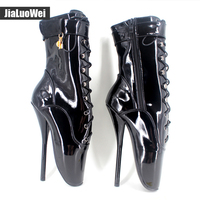 Unisex Sexy Fashion Mid Calf Ballet Boots Sexy Super High Heel Boots Woman Shoes Black Red
