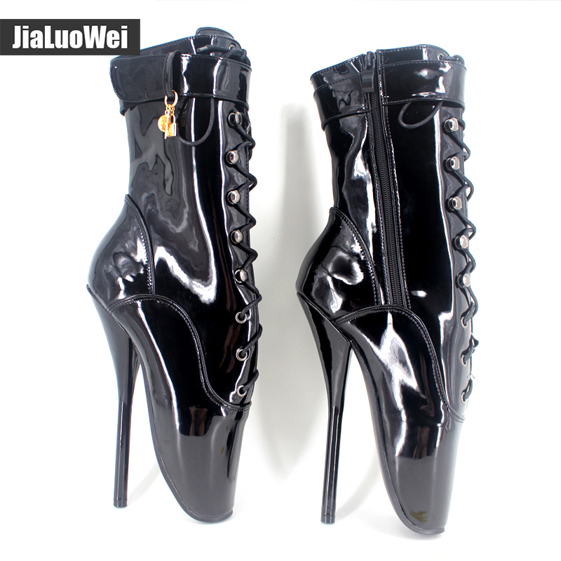 jialuowei Unisex Sexy Fashion Mid-calf Ballet Boots Sexy Super High Heel Boots Woman Shoes Black Red custom color Plus Size double buckle cross straps mid calf boots