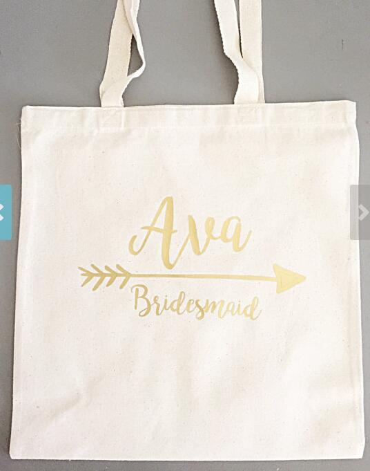 Glitter Set Of 5 Bridesmaid Tote Bags Personalized Names Champagne