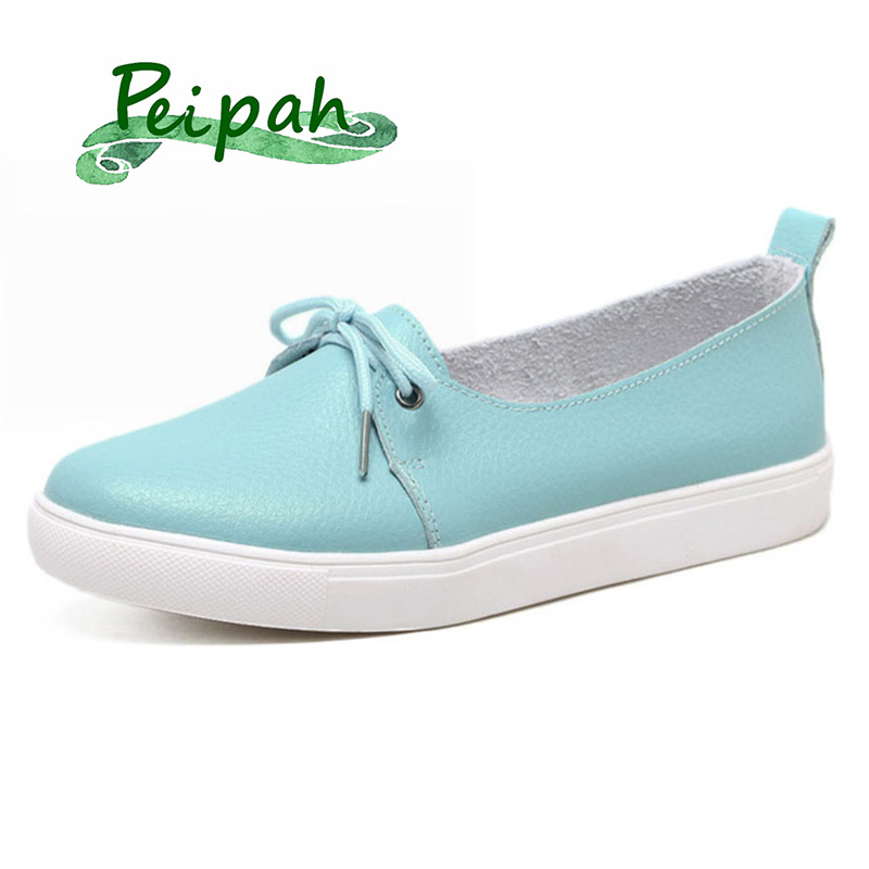 PEIPAH 2019 New Solid Women Shoes Genuine Leather Women Flats Shoes Slip On Female Loafers Sewing Round Toe Single Shoes