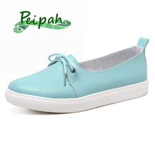 Купить с кэшбэком PEIPAH 2019 New Solid Women Shoes Genuine Leather Women Flats Shoes Slip On Female Loafers Sewing Round Toe Single Shoes