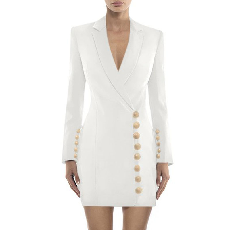 Pour Indressme Mode Manches Blanc Noir Sexy Black 2019 Femme Bouton Costumes white Robe Profonde Plein Femmes Solide Nouvelle V Blazers Hiver E2HID9
